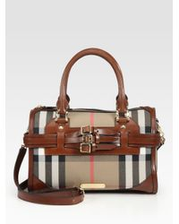 Burberry - Brown Large Check Satchel - Lyst