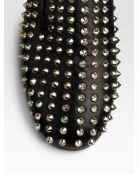 Christian Louboutin - Black Rollerball Spikes Flat - Lyst