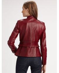 Elie Tahari - Red Becca Leather Jacket - Lyst