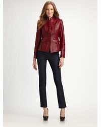 Elie Tahari | Red Becca Leather Jacket | Lyst