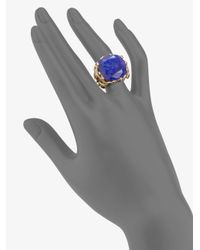 Elizabeth and James - Metallic Lapis and Ruby Snake Ring - Lyst