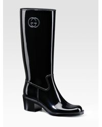 Gucci | Black Devendra Rubber Rainboots | Lyst