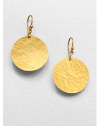Gurhan Metallic 24k Yellow Gold Disc Earrings