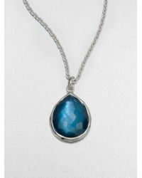 Ippolita | Metallic Wonderland Indigo Mother-of-pearl, Clear Quartz & Sterling Silver Mini Teadrop Doublet Pendant N | Lyst