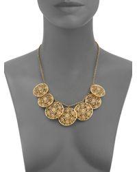 Isharya - Metallic Floral Medallion Necklace - Lyst