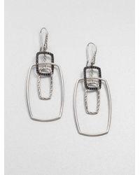 John Hardy | Metallic Classic Chain Black Sapphire & Sterling Silver Rectangular Drop Earrings | Lyst