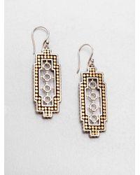 John Hardy | Metallic Dot 18K Yellow Gold & Sterling Silver Drop Earrings | Lyst
