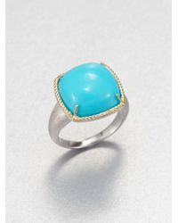 Jude Frances | Blue Turquoise Cushion Cut Ring | Lyst