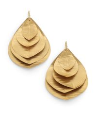 Kevia | Brown Layered Leaf Earrings | Lyst