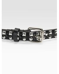 Linea Pelle Black Studded Skinny Belt