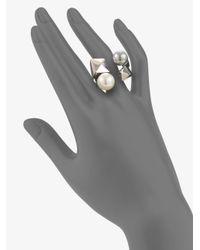 Majorica Multicolor 10mm-12mm Bicolor Round Pearl & Sterling Silver Cube Wrap Ring