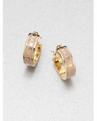 Marc By Marc Jacobs - Metallic Enamel Accented Logo Huggie Earrings - Lyst