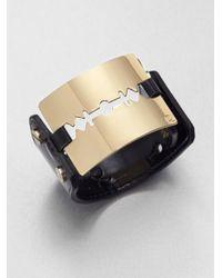 McQ | Black Leather Razor Cuff Bracelet | Lyst