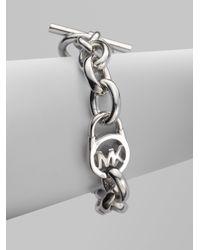 Michael Kors | Metallic Heritage Fulton Padlock Station Toggle Bracelet/silvertone | Lyst