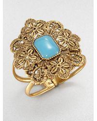 Oscar de la Renta - Blue Resin Cabochon Lace Cuff Bracelet - Lyst