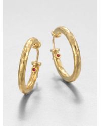 Roberto Coin | Metallic Martellato 18K Yellow Gold Hoop Earrings/1 | Lyst