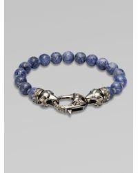 Stephen Webster - Gray Ravens Head Beaded Bracelet for Men - Lyst
