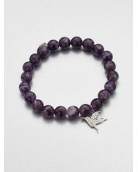 Sydney Evan | Diamond 14k White Gold Charm Accented Amethyst Beaded Bracelet | Lyst