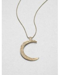 Sydney Evan | Metallic Diamond Accented 14k Gold Moon Pendant Necklace | Lyst