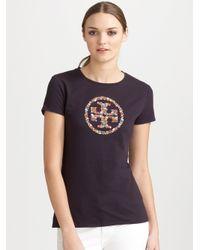 Tory Burch Blue Embroidered Logo Tshirt