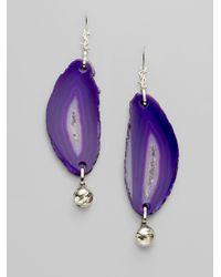 Saint Laurent Metallic Agate Drop Earrings