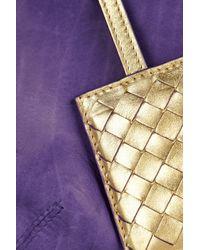 Bottega Veneta Purple Hand Painted Waxed Leather Clutch