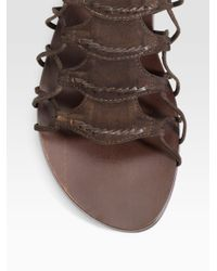 Elizabeth and James - Brown Suede Gladiator Flat Sandals - Lyst
