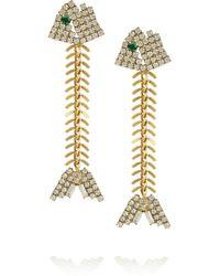 Elizabeth Cole Metallic 24karat Goldplated Swarovski Crystal Fishbone Earrings