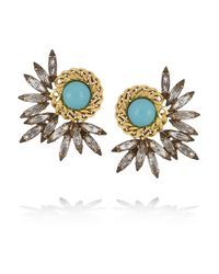 Elizabeth Cole Metallic Mohawk Goldplated Swarovski Crystal Earrings