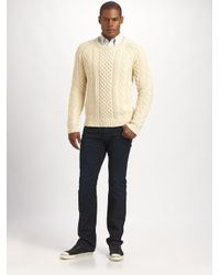 Gant Rugger - Natural Classic Cable-Knit Sweater for Men - Lyst