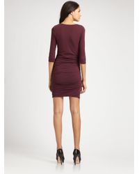 James Perse | Purple Three-quarter Sleeve Fitted V-neck Dress | Lyst