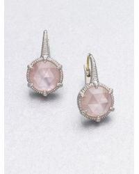 Judith Ripka Motherofpearl Pink Crystal Doublet Earrings