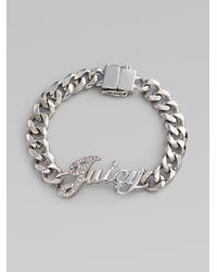 Juicy Couture - Metallic Signature Script Id Bracelet - Lyst