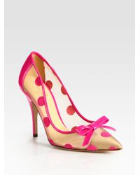 40fc8e5aa07d Lyst - Kate Spade Polka Dot Patent Leather Mesh and Velour Point Toe ...