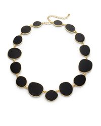 Kenneth Jay Lane - Black Enamel Abstract Disk Necklace - Lyst