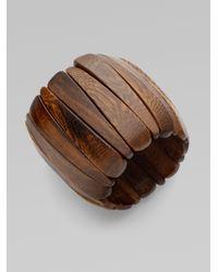 Kenneth Jay Lane | Brown Wood Stretch Cuff Bracelet | Lyst