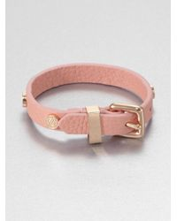 Marc By Marc Jacobs Pink Studded Leather Bracelet