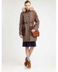 Marc By Marc Jacobs Brown Belted Fox Fur Trim Parka