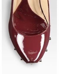 McQ - Red Patent Leather Studded Ankle Strap Wedges - Lyst