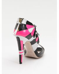Miu Miu | Black Tri-color Double-buckle Mary Jane Sandals | Lyst