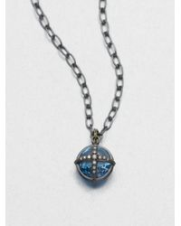 Mizuki - Blue Topaz Diamond Pendant Necklace - Lyst