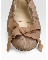 Nina Ricci | Natural Ribbon Ballet Flats | Lyst