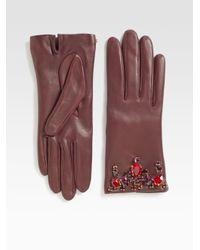 Prada | Purple Swarovski Crystal Leather Glovesbordeaux | Lyst