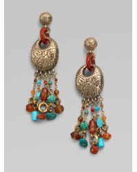 Stephen Dweck Multicolor Turquoise and Red Agate Fringe Earrings