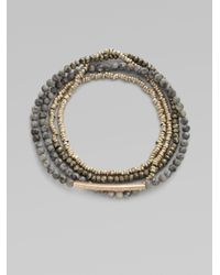 Sydney Evan | Gray Diamond Accented 14k Gold Bar Beaded Bracelet | Lyst