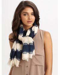 Tory Burch | Blue Silk Striped Lace Logo Scarf | Lyst