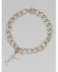 Saint Laurent | Metallic Textured Links Necklace | Lyst
