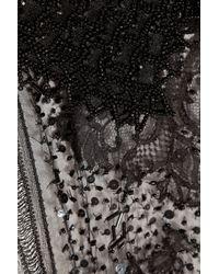 Alberta Ferretti White Beaded Silk Chiffon Top