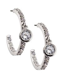 CZ by Kenneth Jay Lane - Metallic Midsize Pave Cubic Zirconia Solitaire Hoop Earrings - Lyst