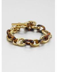 Michael Kors | Metallic Heritage Fulton Tortoise-print Padlock Toggle Bracelet | Lyst